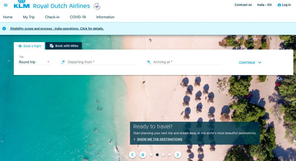 KLM Airlines Reservations Page